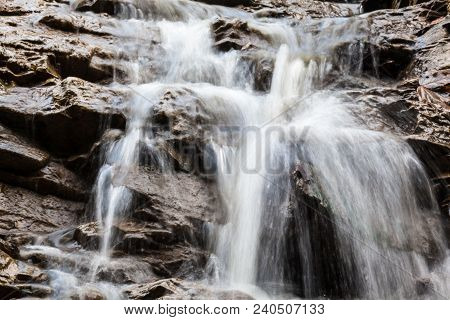 Mountain Brook. Water Stream On The Stony Surface. Ukrainian Carpathian Mountains. Close-up.