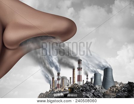 Breathing Toxic Pollutants Inside The Human Body And Inhaling Pollution As A Nose Smelling Industria