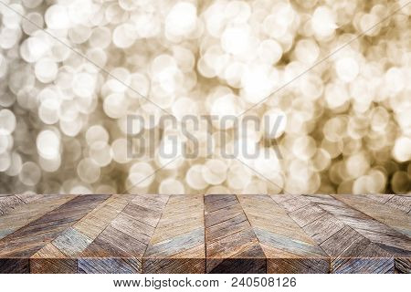 Empty Old Rustic Wood Table Top With Blur Sparkling Gold Bokeh Abstract Background,panoramic Banner