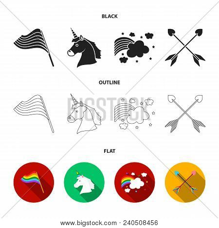 Flag, Unicorn Symbol, Arrows With Heart.gay Set Collection Icons In Black, Flat, Outline Style Vecto