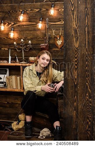 Lady Enjoy Hot Drink In Metallic Mug In Warm Atmosphere, Wooden Interior. Girl On Relaxed Face In Pl