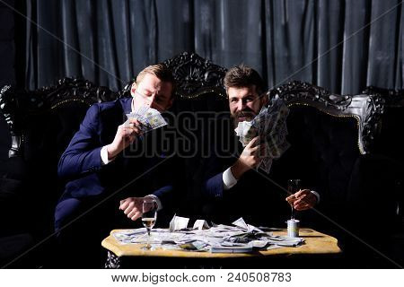 Financial Freedom Achievement Concept. Happy Young Men, Businessmen With Money, Banknotes Celebratin