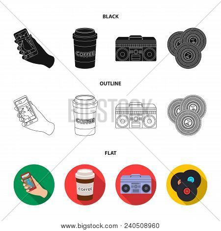 Hipster, Fashion, Style, Subculture .hipster Style Set Collection Icons In Black, Flat, Outline Styl