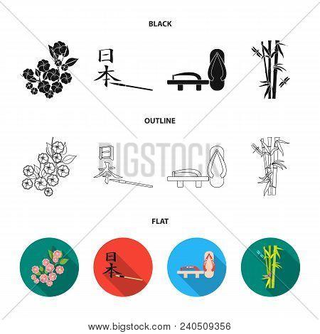 Geta, Sakura Flowers, Bamboo, Hieroglyph.japan Set Collection Icons In Black, Flat, Outline Style Ve