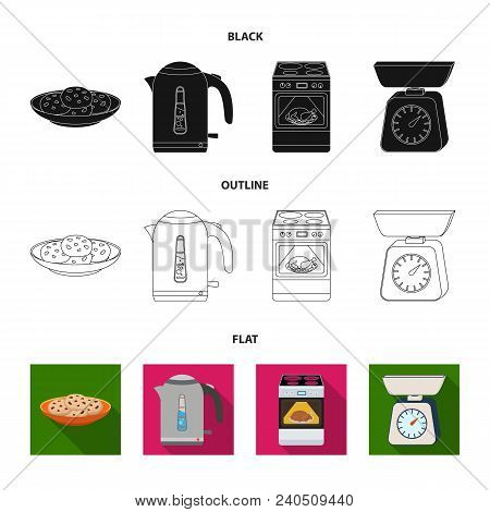 Kitchen Equipment Black, Flat, Outline Icons In Set Collection For Design. Kitchen And Accessories V