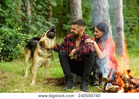 Couple In Love, Young Happy Family Spend Leisure With Dog. Family Leisure Concept. Couple Play With