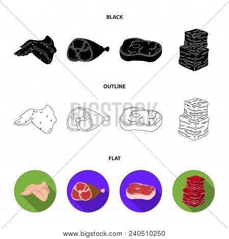 Chicken Wings, Ham, Raw Steak, Beef Cubes. Meat Set Collection Icons In Black, Flat, Outline Style V