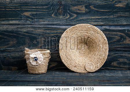 Handmade Dekoratif Basket Made Of Thick Jute Rope