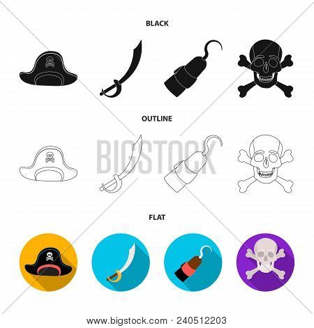 Pirate, Bandit, Cap, Hook .pirates Set Collection Icons In Black, Flat, Outline Style Vector Symbol