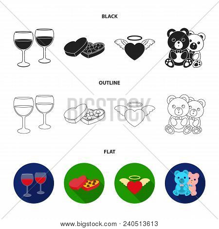 Glasses With Wine, Chocolate Hearts, Bears, Valentine.romantik Set Collection Icons In Black, Flat,