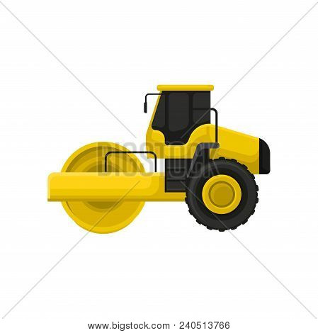 Icon Of Yellow Road Roller. Engineering Motor Vehicle With Heavy Roller. Machine Used To Compact Soi