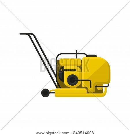Yellow Vibratory Plate Compactor With Black Handle. Professional Equipment For Road Making. Construc