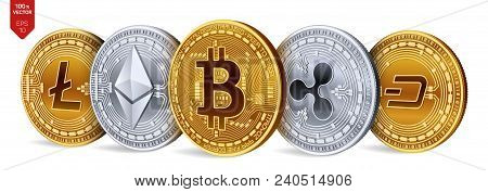 Bitcoin. Ripple. Ethereum. Dash. Litecoin. 3d Isometric Physical Coins. Crypto Currency. Golden And