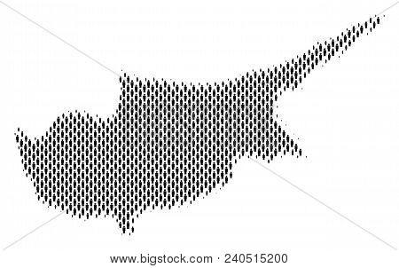Demography Cyprus Island Map People. Population Vector Cartography Composition Of Cyprus Island Map