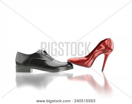 3D render of female red high-hilled shoe pressing against black leather male shoe as female over male domination concept - on whie background