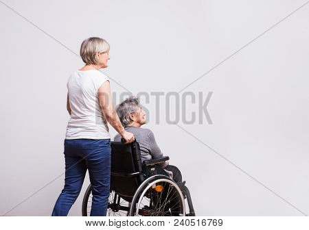 Studio Portrait Of A Happy Senior Woman In Wheelchair With A Carer. Rear View. Copy Space.