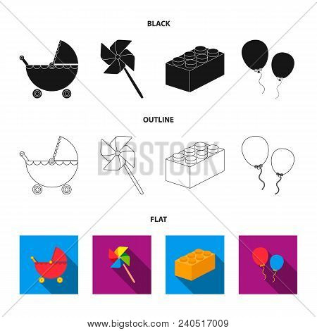 Stroller, Windmill, Lego, Balloons.toys Set Collection Icons In Black, Flat, Outline Style Vector Sy