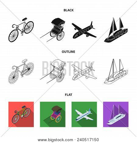 Bicycle, Rickshaw, Plane, Yacht.transport Set Collection Icons In Black, Flat, Outline Style Vector