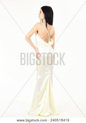 Bride, Girl In Graceful Dress. Fashion Model Demonstrate Expensive Fashionable Evening Dress Or Wedd