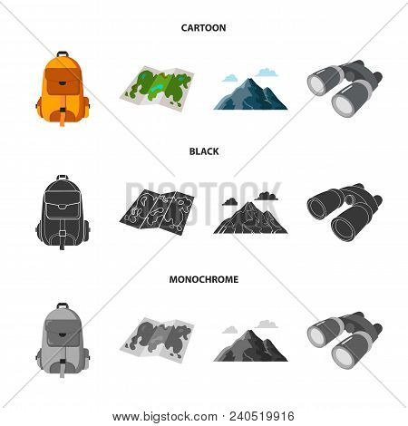 Backpack, Mountains, Map Of The Area, Binoculars. Camping Set Collection Icons In Cartoon, Black, Mo