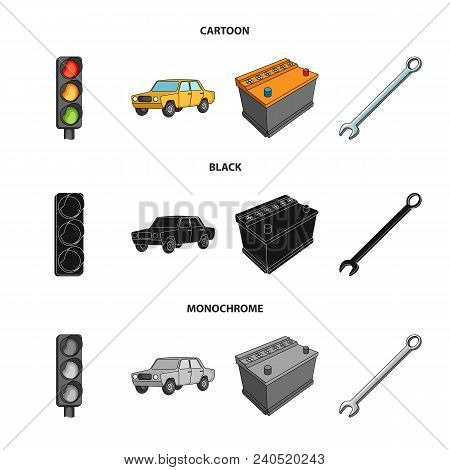 Traffic Light, Old Car, Battery, Wrench, Car Set Collection Icons In Cartoon, Black, Monochrome Styl