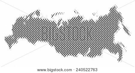 Demography Russia Map People. Population Vector Cartography Mosaic Of Russia Map Composed Of Crowd I