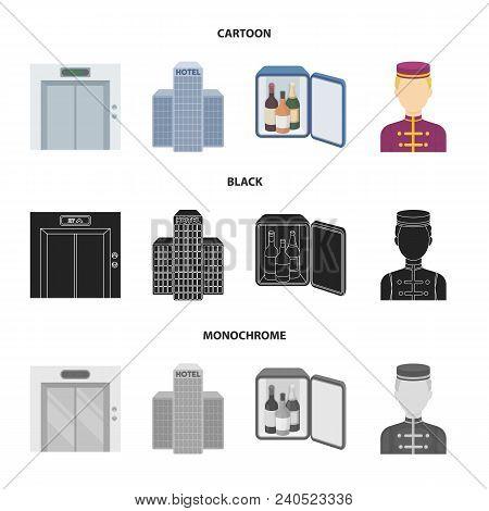 Elevator Car, Mini Bar, Staff, Building.hotel Set Collection Icons In Cartoon, Black, Monochrome Sty
