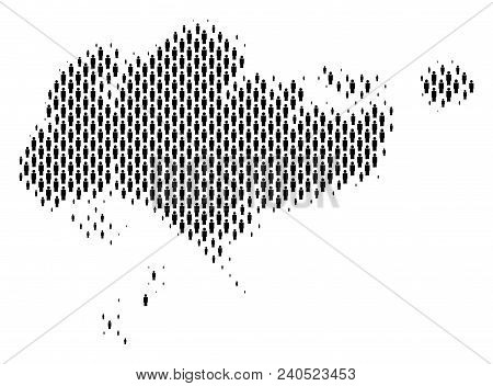 Demography Singapore Map People. Population Vector Cartography Mosaic Of Singapore Map Made Of Crowd