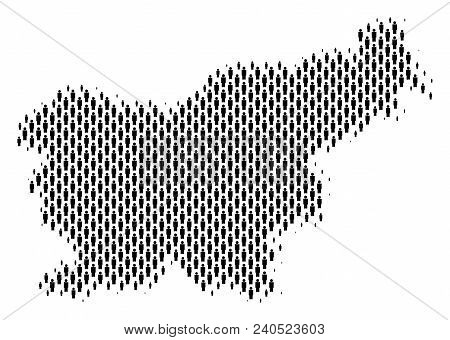 Demography Slovenia Map People. Population Vector Cartography Mosaic Of Slovenia Map Designed Of Men