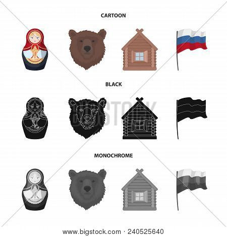 Russia, Country, Nation, Matryoshka .russia Country Set Collection Icons In Cartoon, Black, Monochro