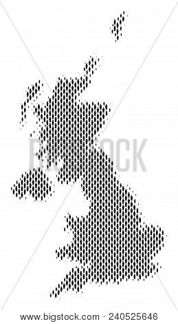 Demography United Kingdom Map People. Population Vector Cartography Composition Of United Kingdom Ma