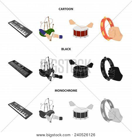Synthesizer Melodies, Bagpipes Scotch And Other  Icon In Cartoon, Black, Monochrome Style. Drum, Dru