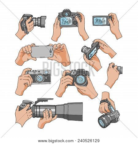 Camera Vector Professional Photocamera In Hands For Photographing With Photography Lens Illustration