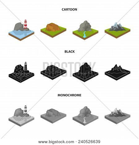 Mountains, Rocks And Landscape. Relief And Mountains Set Collection Icons In Cartoon, Black, Monochr