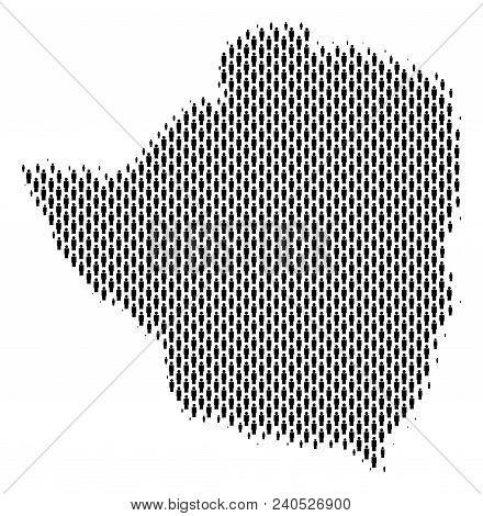 Demography Zimbabwe Map People. Population Vector Cartography Abstraction Of Zimbabwe Map Organized