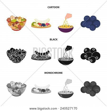 Assorted Nuts, Fruits And Other Food. Food Set Collection Icons In Cartoon, Black, Monochrome Style