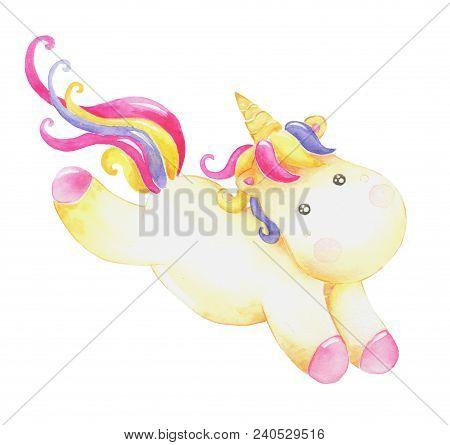 Watercolor Unicorn Illustration, Fairy Tale Creature, Pink Curly Hair, Cartoon Animal Clip Art, Isol
