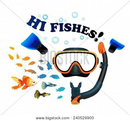 Mask With Snorkel And Fins For Snorkeling On White Background With Fish
