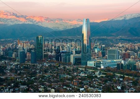 Panoramic View Of Providencia And Las Condes Districts With The Andes Mountain Range At Sunset, Sant