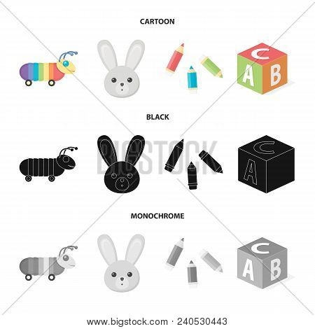 Children Toy Cartoon, Black, Monochrome Icons In Set Collection For Design. Game And Bauble Vector S