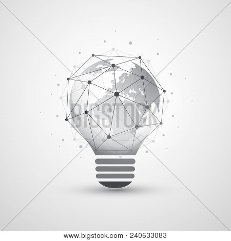 Abstract Electricity, Cloud Computing And Global Network Connections Concept Design With Earth Globe