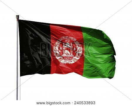 National Flag Of Afghanistan On A Flagpole, Isolated On White Background.
