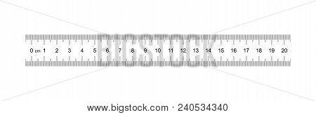 Ruler 20 Cm. Measuring Tool. Ruler Graduation. Ruler Grid 20 And 1 Cm. Size Indicator Units. Metric