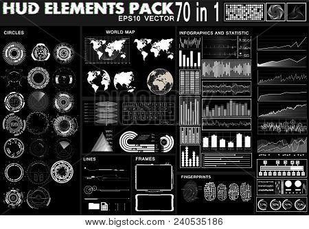 Set Hud Black And White Interface Elements, Circles, Statistic And Infographic, World Maps, Frames,