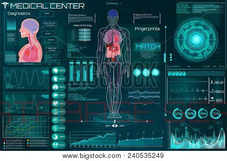 Medical Infographic Hud. Health And Healthcare Icons And Structure Of Human Organs. Medical Infograp