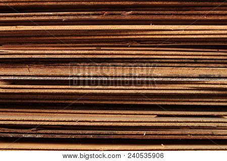 Old Wooden Slabs Storage For Background Texture Photo.