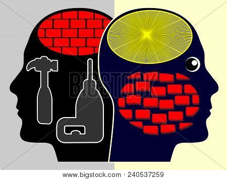 Fight Against Prejudice. Person Tearing Down The Wall In His Head In Order To Have An Open Mind