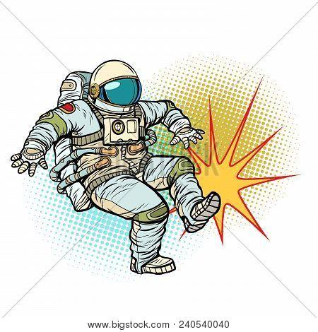 Astronaut Kick Neutral Isolated Background. Pop Art Retro Vector Illustration Cartoon Comics Kitsch
