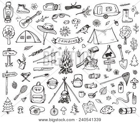 Set Of Doodle Forest Camping Design Elements. Hand Drawn Vector Illustrations Isolated On A White Ba