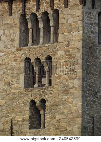 Detail Of Romanesque Stone Masonry With Typical Arched Windows, Medieval Architecture Czech Republic